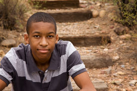picture of teenage boys  - Handsome African American male in natural surroundings - JPG