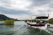 picture of dalyan  - DALYAN TURKEY - MAY 31 2015 : Touristic boat trips in the river between Koycegiz Lake and Iztuzu Beach in Dalyan.