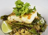 foto of cod  - Cod Fish Fillets With Rice and Peas - JPG