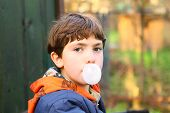 pic of preteen  - preteen handsome boy with chewing gum bubble close up counrty portrait - JPG