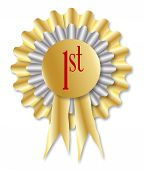 stock photo of rosette  - Gold and silver rosette with the legend 1st over a white background - JPG