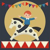 stock photo of merry-go-round  - Happy boy sitting on horse in merry - JPG