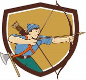 foto of bow arrow  - Illustration of an archer aiming with long bow and arrow viewed from side set inside crest shield done in cartoon style - JPG
