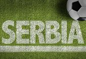 pic of serbia  - Soccer field with the text - JPG
