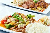 stock photo of bean sprouts  - Stewed meat with vegetables and bean sprouts - JPG