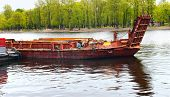 image of barge  - The old barge on the river mooring - JPG