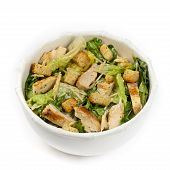 image of caesar salad  - Classic Caesar Salad with croutons on white background - JPG