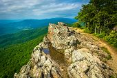 stock photo of blue ridge mountains  - View of the Blue Ridge Mountains from Little Stony Man Mountain in Shenandoah National Park Virginia - JPG