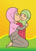 stock photo of humble  - Indonesian muslim mother holding and kissing daughter - JPG