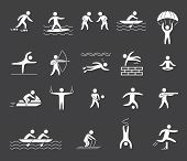 stock photo of archery  - Silhouette figures of athletes popular sports - JPG