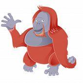 foto of orangutan  - Vector image of a cartoon smiling Orangutan - JPG