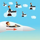 stock photo of fighter plane  - illustration of businessman navigating a fighter plane - JPG
