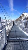 pic of tit  - Suspended walkway snow mountains Titlis Engelberg Switzerland - JPG