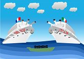 image of illegal  - illustration of illegal migrants on lifeboat floating in front of Italian and Franch warships - JPG