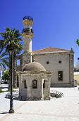 image of greek-island  - Turkish mosque and old fountain in the town of Lerapetra on the Greek island of Crete - JPG