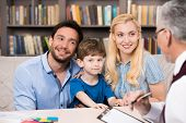 pic of psychologist  - Young family of three talking with psychologist - JPG