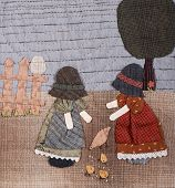 image of applique  - Sunbonnet sue applique quilt with two little girls in village - JPG