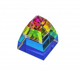 foto of tetrahedron  - glass pyramid isolated on the white backgrounds - JPG