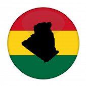 Постер, плакат: Algeria map on a Rastafarian flag button white background