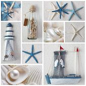 pic of summer beach  - Collage of summer blue and white sea stars - JPG
