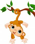 stock photo of baby-monkey  - Illustration of Cute baby monkey on a tree - JPG