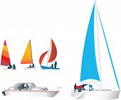 illustration set of silhouettes of boats and yachts