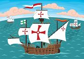 picture of galleon  - The ships of Christopher Columbus on their way to America - JPG