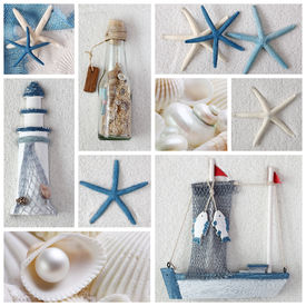 stock photo of summer beach  - Collage of summer blue and white sea stars - JPG