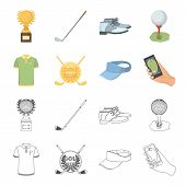 Emblem Of The Golf Club, Cap With A Visor, Golfer Shirt, Phone With A Navigator.golf Club Set Collec poster