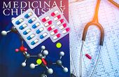 Pills On Textbook Of Medicinal Chemistry And Stethoscope Put On Ekg Or Ecg (electrocardiogram) Graph poster