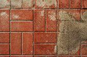 Постер, плакат: Pavement Sidewalk Tile Background Pavement Tile Top View Closeup Footpath Sidewalk Dirty Pave