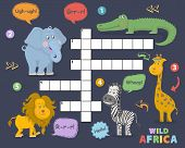 African Animals Crossword. Elephant, Giraffe, Alligator, Zebra, Lion Cute Vector Illustration. Kids  poster