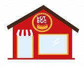 picture of dog-house  - hot dog restaurant cartoon isolated over white background - JPG