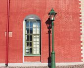 Brick House Wall With Classic Window And Retro Street Lantern At Old Town Street. Architecture Build poster