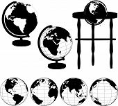 stock photo of eastern hemisphere  - Silhouettes of Globes on Stands and a set of various globe views - JPG