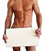 foto of incognito  - Naked muscular man covering with a box  - JPG