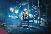 Concept: Power, Strength, Healthy Lifestyle, Sport. Powerful Attractive Muscular Woman Crossfit Trai poster