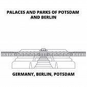 Germany, Berlin, Potsdam, Palaces And Parks Line Icon Concept. Germany, Berlin, Potsdam, Palaces And poster