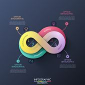 Creative Infographic Design Template In Shape Of Infinity Sign With 4 Options, Thin Line Symbols And poster