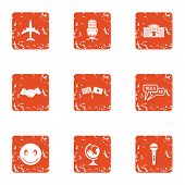 Agreement Icons Set. Grunge Set Of 9 Agreement Vector Icons For Web Isolated On White Background poster