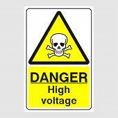 Plate: danger. High Voltage Sign. Sign: danger. High Voltage Sign On A Gray Background poster