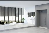A modern minimalist penthouse bathroom interior with sweeping views across a city park. 3d Rendering poster