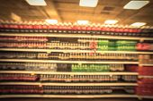 Vintage Blurred Background Soft Drinks Aisle In American Store poster