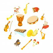 Musical Instruments Icons Set. Cartoon Illustration Of 16 Musical Instruments Vector Icons For Web poster