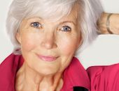 foto of woman red blouse  - Senior woman portrait  with white hair and  red blouse - JPG