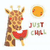 Hand Drawn Vector Illustration Of A Cute Funny Giraffe Eating Watermelon, With Sun, Lettering Quote  poster