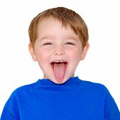 Kid making funny expression isolated on white