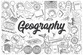 Hand Drawn Geography Doodle Set. Lettering - Geography poster