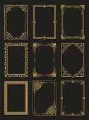 Vintage Frames Collection Golden Borders Isolated On Black Background. Decorative Gold Frames Set Or poster