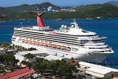 stock photo of cruise ship  - Caribbean Cruise Ship docked on the island of St - JPG